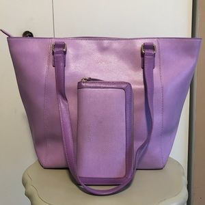 Small Ella Tote and Accordian Wallet in Lavender